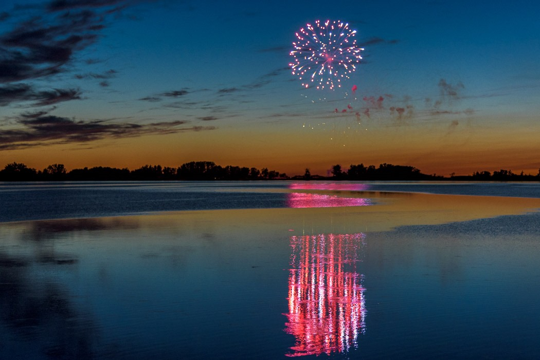 Fireworks Over the Lagoon at Grand Beach Provincial Park, Manitoba